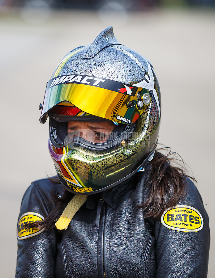Jul 10, 2016; Joliet, IL, USA; NHRA pro stock motorcycle rider Angelle Sampey during the Route 66 Nationals at Route 66 Raceway. Mandatory Credit: Mark J. Rebilas-USA TODAY Sports