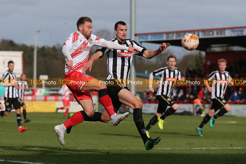 Matthew Godden of Stevenage and Haydn Hollis of Notts County during Stevenage vs Notts County, Sky Bet EFL League 2 Football at the Lamex Stadium on 4th March 2017