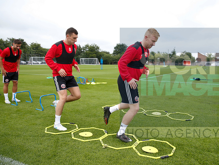 Mark Duffy of Sheffield Utd and Nathan Thomas during the training session at the Shirecliffe Training complex, Sheffield. Picture date: June 27th 2017. Pic credit should read: Simon Bellis/Sportimage