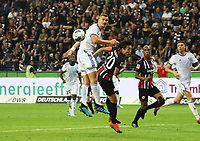 Ludovic Ajorque (Racing Club de Strasbourg Alsace) gegen Makoto Hasebe (Eintracht Frankfurt) - 29.08.2019: Eintracht Frankfurt vs. Racing Straßburg, UEFA Europa League, Qualifikation, Commerzbank Arena<br /> DISCLAIMER: DFL regulations prohibit any use of photographs as image sequences and/or quasi-video.