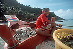 Thailand, Ang Thong National Marine Park, young boy, fishing boat, South China Sea, Southeast Asia,