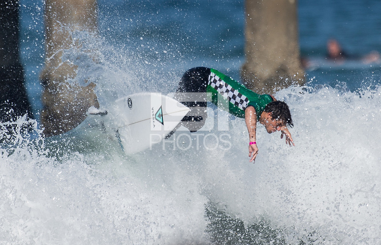 Huntington Beach, CA - Tuesday July 31, 2018: Cam Richards in action during a World Surf League (WSL) Qualifying Series (QS) Men's round of 96 heat at the 2018 Vans U.S. Open of Surfing on South side of the Huntington Beach pier.