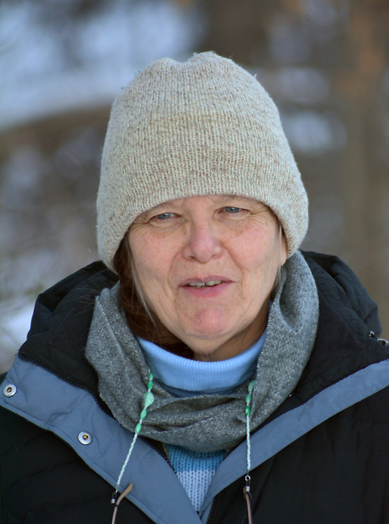 Ginny Christensen, enjoying the Falling Waters Nature Preserve, near Glasco, NY., January 1, 2018. Photo by Jim Peppler. Copyright/Jim Peppler/2017.