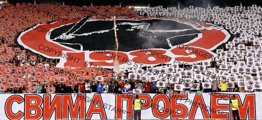 Fudbal.FK Crvena Zvezda Vs. FK Rad.Delije, navijaci, zastave, flags, fans, supporters.Beograd, 23.08.2009..foto: Srdjan Stevanovic/Starsportphoto ©