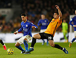 Ayoze Perez of Leicester City tackled by Jonny Otto of Wolverhampton Wanderers during the Premier League match at Molineux, Wolverhampton. Picture date: 14th February 2020. Picture credit should read: Darren Staples/Sportimage