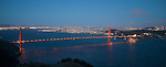 """Glory of San Francisco"" Golden Gate Bridge and San Francisco.  The sun is just setting on the Bridge with San Francisco and the entire Bay in the background.  In these 4 images of the sunset and twilight over the area you can see all of the lights that surround both SF Bay and the East Bay, both downtown SF and downtown Oakland, the Golden Gate Bridge and the Bay Bridge. Some have Alcatraz Island, Ellis Island, sailboats in the bay and airplanes flying overhead. Day or night, sunrise or sunset this is some of the most beautiful scenery in all of California if not the world."