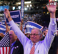 8/25/08 6:40:23 PM -- Denver, CO, U.S.A. -- Democratic National Convention -- .James Flug form Washington, D.C. reacts to U.S. Sen. Edward Kennedy (D-MA) entering the stage during day one of the Democratic National Convention (DNC) at the Pepsi Center August 25, 2008 in Denver, Colorado. .Photo by Pat Shannahan, USA TODAY staff