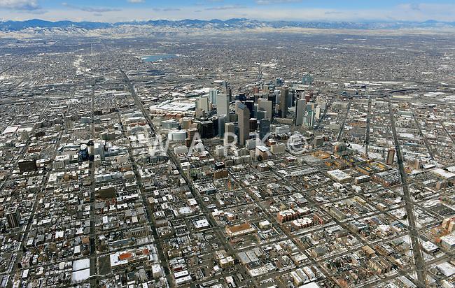 Denver skyline aerial in winter looking north west. Feb 2013. 82240