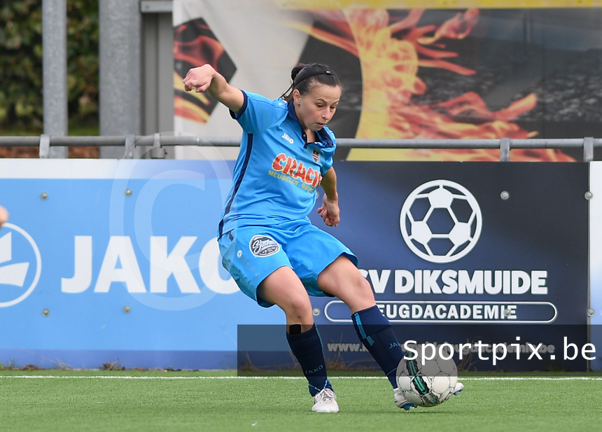 20191005  -  Diksmuide , BELGIUM :FWDM's Hanne Borteel  pictured during a footballgame between the womensoccer teams from Famkes Westhoek Diksmuide Merkem and KV Mechelen Ladies A , on the 5th matchday in the first division , 1e nationale , in Diksmuide - Belgium - saturday 5th october 2019 . PHOTO DAVID CATRY | Sportpix.be