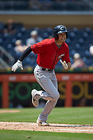 Tyler Krieger (2) of the Columbus Clippers hustles down the first base line against the Durham Bulls at Durham Bulls Athletic Park on June 1, 2019 in Durham, North Carolina. The Bulls defeated the Clippers 11-5 in game one of a doubleheader. (Brian Westerholt/Four Seam Images)