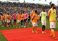CARSON, CA - DECEMBER 01, 2012:  Platers of the Houston Dynamo get ready to accept their medals during the 2012 MLS Cup at the Home Depot Center, in Carson, California on December 01, 2012. The Galaxy won 3-1.