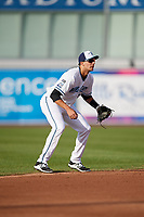 West Michigan Whitecaps shortstop Daniel Pinero (21) during a game against the Clinton LumberKings on May 3, 2017 at Fifth Third Ballpark in Comstock Park, Michigan.  West Michigan defeated Clinton 3-2.  (Mike Janes/Four Seam Images)