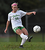 Allison Kiernan #23 of Farmingdale kicks downfield during a Nassau County Conference AA-1 varsity girls soccer game against host Baldwin High School on Wednesday, Oct. 17, 2018. She scored a goal to break a 1-1 late in the first half. Farmingdale went on to win by a score of 3-1.