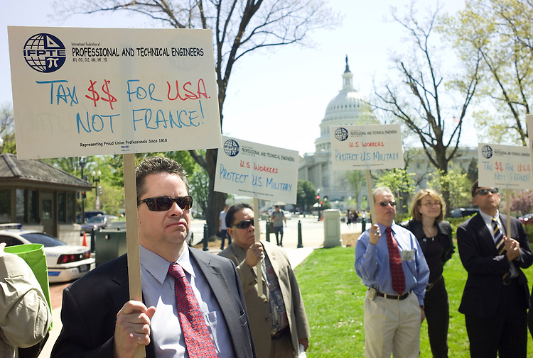 "WASHINGTON, DC - April 17: Representatives of the International Federation of Professional and Technical Engineers protesting the awarding of the Air Force's tanker program to European EADS. The rally was attended by several of the leaders in the U.S. Congress of the ""Buy American"" push that is trying to get reversed the awarding of the $35 billion Air Force's tanker program to European EADS, rather than U.S.-based Boeing. Several lawmakers are looking to include in a bill a provision that not only would undo the award to Northrop Grumman but also permanently rewrite the rules of Pentagon procurement in ways that would clearly favor U.S. bidders over foreign ones."" (Photo by Scott J. Ferrell/Congressional Quarterly)"