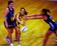 Joline Henry passes during the ANZ Netball Championship match between the Central Pulse and Waikato Bay Of Plenty Magic at TSB Bank Arena, Wellington, New Zealand on Monday, 30 March 2015. Photo: Dave Lintott / lintottphoto.co.nz