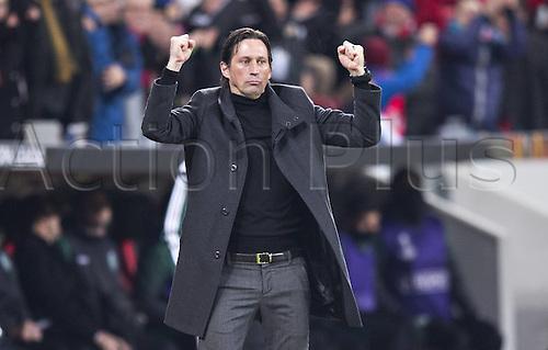 25.02.2016. Leverkusen, Germany. UEFA Europa League football. Bayer Leverkusen versus Sporting Lisbon. Goal celebration from team manager Roger Schmidt Bayer Leverkusen