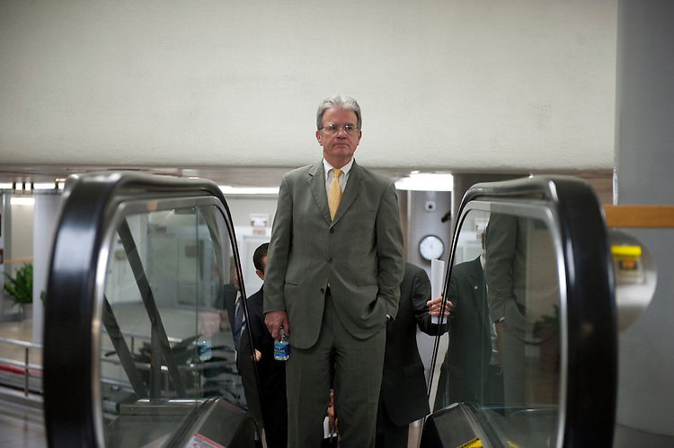 UNITED STATES - August 2:  Tom Coburn, R-OK., enters the U.S. Capitol from the Senate subway on August 2, 2011. (Photo By Douglas Graham/Roll Call)