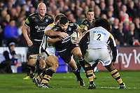 Rob Webber of Bath Rugby takes on the Wasps defence. European Rugby Champions Cup match, between Bath Rugby and Wasps on December 19, 2015 at the Recreation Ground in Bath, England. Photo by: Patrick Khachfe / Onside Images