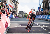 Annemiek van Vleuten (NED/Mitchelton-Scott) becomes the new World Champion after a mammoth 100+ km solo into Harrogate<br /> <br /> Elite Women Road Race from Bradford to Harrogate (149km)<br /> 2019 Road World Championships Yorkshire (GBR)<br /> <br /> ©kramon