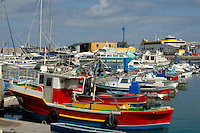 Colourful fishing boats, Corralejo harbour, Fuerteventura, Canary Islands, Spain. May 2007.