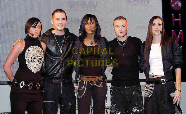 LIBERTY X.MICHELLE HEATON, TONY LUNDON, KELLI YOUNG, KEVIN SIMM & JESSICA TAYLOR.live at HMV Oxford Street.music, stage, gig, concert, dancing, singing.www.capitalpictures.com.sales@capitalpictures.com.©Capital Pictures
