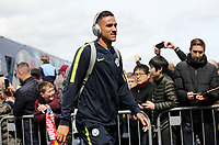 Manchester City's Danilo arrives at Turf Moor ahead of kick-off at Turf Moor<br /> <br /> Photographer Rich Linley/CameraSport<br /> <br /> The Premier League - Burnley v Manchester City - Sunday 28th April 2019 - Turf Moor - Burnley<br /> <br /> World Copyright © 2019 CameraSport. All rights reserved. 43 Linden Ave. Countesthorpe. Leicester. England. LE8 5PG - Tel: +44 (0) 116 277 4147 - admin@camerasport.com - www.camerasport.com