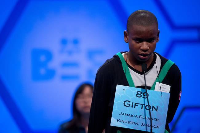Speller 89 Gifton Samuel Wright competes in the preliminary rounds of the Scripps National Spelling Bee at the Gaylord National Resort and Convention Center in National Habor, Md., on Wednesday,  May 30, 2012. Photo by Bill Clark