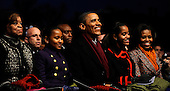United States President Barack Obama and the First Family participate in the 2011 National Christmas Tree Lighting on the Ellipse in Washington, DC, on Thursday, December 1, 2011. From left are Michelle's mother Marion Robinson; Sasha Obama; The President; Malia Obama; and first lady Michelle Obama.  .Credit: Roger L. Wollenberg / Pool via CNP