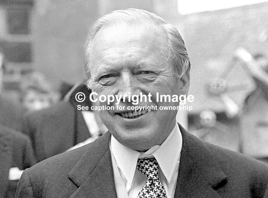Airey Neave, MP, Conservative Party, UK, opposition spokesman on N Ireland, pictured at a wedding in N Ireland, May 1976, 197605080244d<br /> <br /> Copyright Image from Victor Patterson,<br /> 54 Dorchester Park, Belfast, UK, BT9 6RJ<br /> <br /> t1: +44 28 90661296<br /> t2: +44 28 90022446<br /> m: +44 7802 353836<br /> <br /> e1: victorpatterson@me.com<br /> e2: victorpatterson@gmail.com<br /> <br /> For my Terms and Conditions of Use go to<br /> www.victorpatterson.com