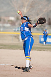 Western Nevada's Kaitlyn Jimmy (25) pitches against Salt Lake Community College during the first of a two game series in Carson City, Nev. on Saturday, March 7, 2015. Western Nevada was defeated in the first game by Salt Lake Community College 11-2. (Photo by Kevin Clifford/WNC).