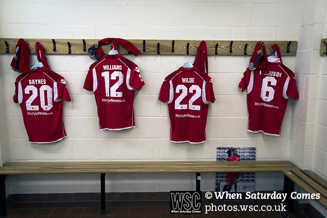 Connah's Quay Nomads 1 Llandudno 1, 20/09/2016. Deeside Stadium, Welsh Premier League. Strips laid out in the home dressing room at the Deeside Stadium before Connah's Quay Nomads played Llandudno in a Welsh Premier League match. Both clubs represented Wales in the 2016-17 Europa League, the first time either had competed in European competition. The match ended in a 1-1 draw, watched by 181 spectators. Photo by Colin McPherson.