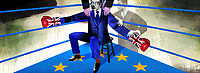 British politician as boxer preparing for brexit fight with European Union
