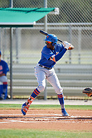 GCL Mets shortstop Ronny Mauricio (2) at bat during a game against the GCL Cardinals on August 6, 2018 at Roger Dean Chevrolet Stadium in Jupiter, Florida.  GCL Cardinals defeated GCL Mets 6-3.  (Mike Janes/Four Seam Images)