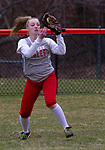 TORRINGTON, CT - 12 APRIL - 041219JW05.jpg -- Wolcott outfielder #5 Abby Sullivan makes an out against Torrington Friday afternoon at Torrington. Wolcott won 20-2.   Jonathan Wilcox Republican-American