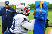 July 27, 2017: New England Patriots running back Brandon Bolden (38) works on a training aid at the New England Patriots training camp held on the at Gillette Stadium, in Foxborough, Massachusetts. Eric Canha/CSM