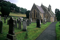 Traditional Welch church with grave sites, St Thomas Church, Corwen Wales