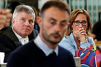 Francesco Tedesco, the carabineer that denounced the violence on Stefano Cucchi  and in the foreground Ilaria Cucchi, Stefano's sister<br /> Rome October 29th 2019. Process 'Cucchi bis'. Stefano Cucchi, a 30 years old man, was arrested on October 15 2009 for drug possession, and after being convicted in Regina Coeli jail for few days, he was transferred to Sandro Pertini hospital, where he died on October 22 2009 due to be strongly beaten. On his body were found many signs of abuse and violence. The defendants are 5 carabineers. <br /> Foto  Samantha Zucchi Insidefoto