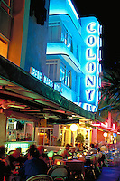 Night diners on Ocean Drive, Miami Beach, Art Deco District Arch - Henry Hohauser, 1935. Diners. Ocean Drive, Miami Beach FL USA.