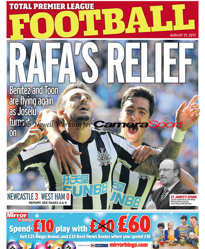 Sunday People 27-Aug-2017 - 'Rafa's Relief' Joselu and Merino of Newcastle United - Photo by Rob Newell (Camerasport via Getty Images)