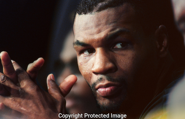 Mike Tyson at press conference before his fight with Peter McNeely.