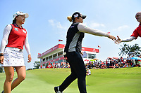 SINGAPORE - MARCH 03: Ariya Jutanugarn of Thailand exiting the 18th green after the final round of the HSBC Women's World Championship 2019 at Sentosa Golf Club - Tanjong Course, Singapore on March 03, 2019.<br /> .<br /> .<br /> .<br /> (Photo by: Naratip Golf Srisupab/SEALs Sports Images)<br /> .<br /> Any image use must include a mandatory credit line adjacent to the content which should read: Naratip Golf Srisupab/SEALs Sports Images