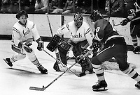 "California Golden Seals Len Frig and goalie Gary Simmons ""The Cobra"" defend North Stars.<br />