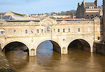 Pulteney Bridge and the River Avon, Bath,  north east Somerset, England