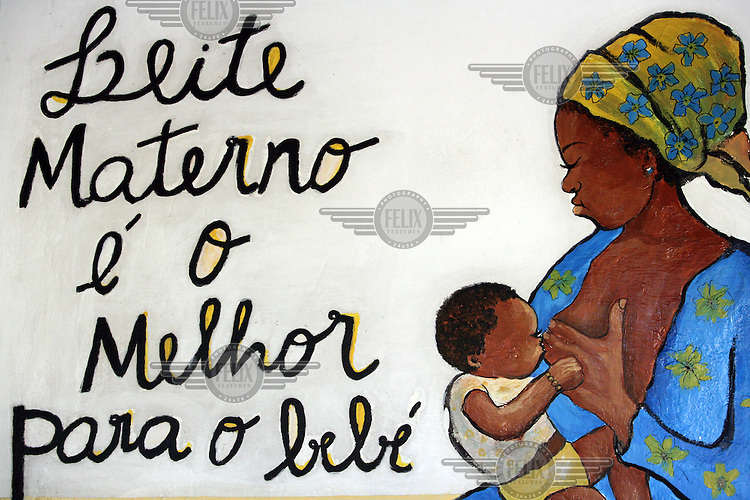 """Health education mural: """"Mother's milk is best for baby."""""""
