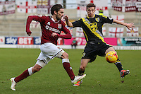 Ricky Holmes of Northampton Town and Andrew Fleming of Morecambe during the Sky Bet League 2 match between Northampton Town and Morecambe at Sixfields Stadium, Northampton, England on 23 January 2016. Photo by David Horn / PRiME Media Images.