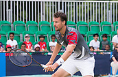 June 15th 2017, Nottingham, England; ATP Aegon Nottingham Open Tennis Tournament day 6;  Kenny De Schepper of France moves into the net during his game with Bjorn Fratangelo of USA