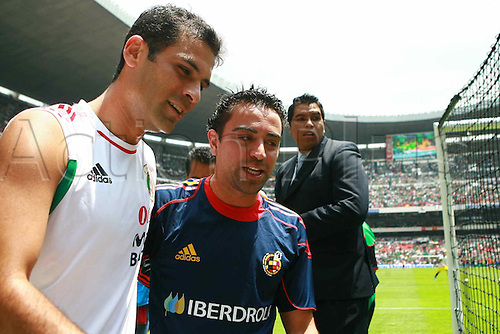 Rafael Marquez (MEX), Xavi (ESP), AUGUST 11, 2010 - Football : International Friendly match between Mexico 1-1 Spain at Azteca stadium in Mexico city, Mexico.