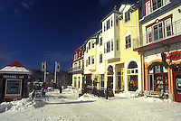AJ0656, Canada, Quebec, Tremblant Ski Resort at Mont Tremblant in winter. The village has an Old Quebec City atmosphere.