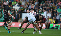 Clermont Auvergne's Sitaleki Timani is tackled by Northampton Saints's Mikey Haywood (right) and David Ribbans (left)<br /> <br /> Photographer Stephen White/CameraSport<br /> <br /> European Rugby Challenge Cup - Northampton Saints v Clermont Auvergne - Saturday 13th October 2018 - Franklin's Gardens - Northampton<br /> <br /> World Copyright © 2018 CameraSport. All rights reserved. 43 Linden Ave. Countesthorpe. Leicester. England. LE8 5PG - Tel: +44 (0) 116 277 4147 - admin@camerasport.com - www.camerasport.com