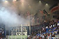 Eintracht Fans mit Bengalos - 22.08.2019: Racing Straßburg vs. Eintracht Frankfurt, UEFA Europa League, Qualifikation, Commerzbank Arena<br /> DISCLAIMER: DFL regulations prohibit any use of photographs as image sequences and/or quasi-video.